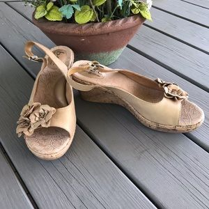 B.O.C. by Born Tan Floral Wedge Sandal -NEW!